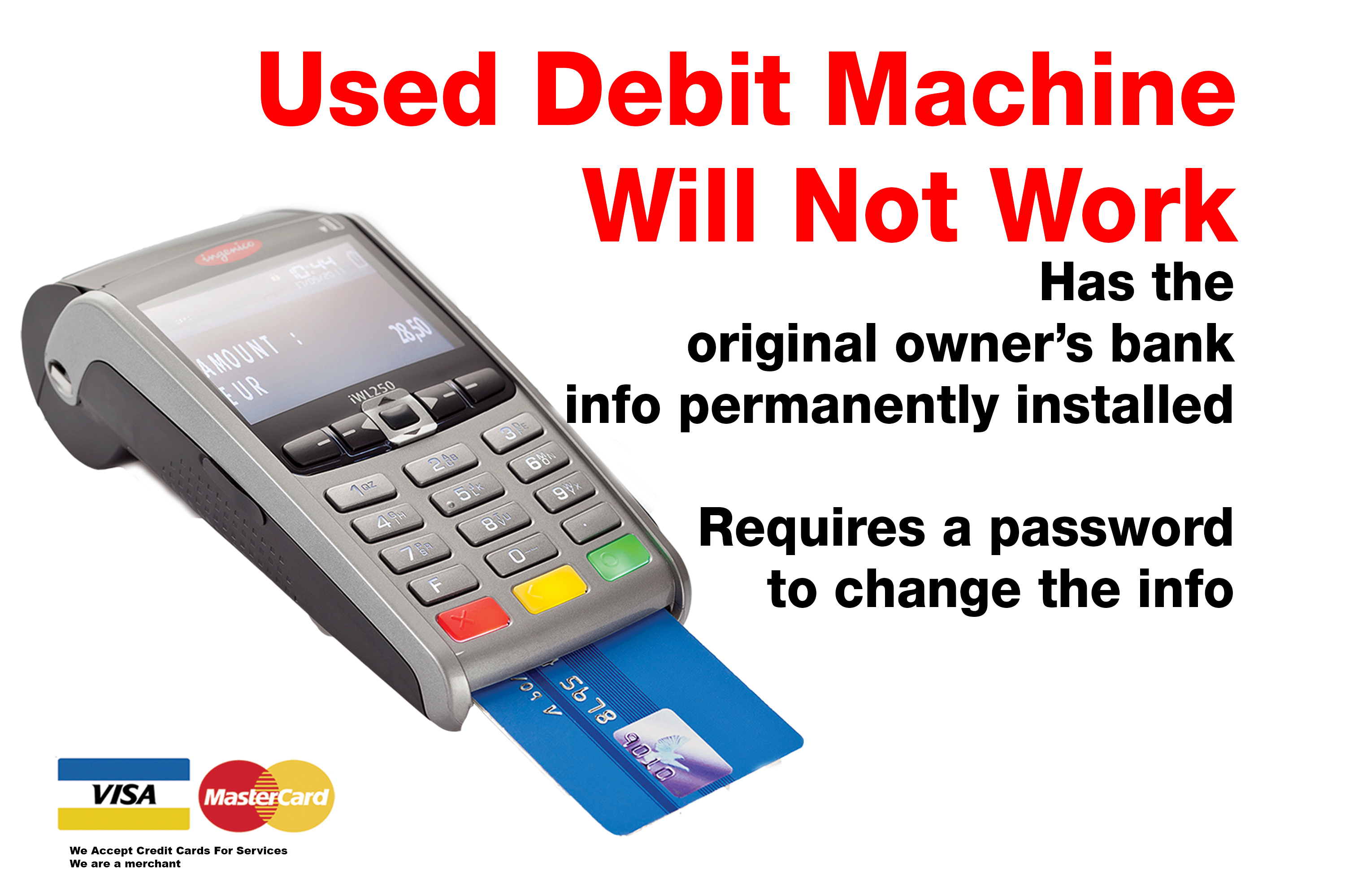 BUY A NEW POS DEBIT MACHINE WITH YOUR BANK ACCOUNT IN IT $0.03 For debit + Visa starts at 1.52% You can buy DeskTop debit machine for $375 on your credit card. Or two payments of $250 You can buy Wireless debit machine for $475 on your credit card. Or two payments of $300 POS terminals Toronto Via Lease - $300 Signing Bonus $29.99 For the deskTop POS debit Machine $39.99 For Wireless Payment POS